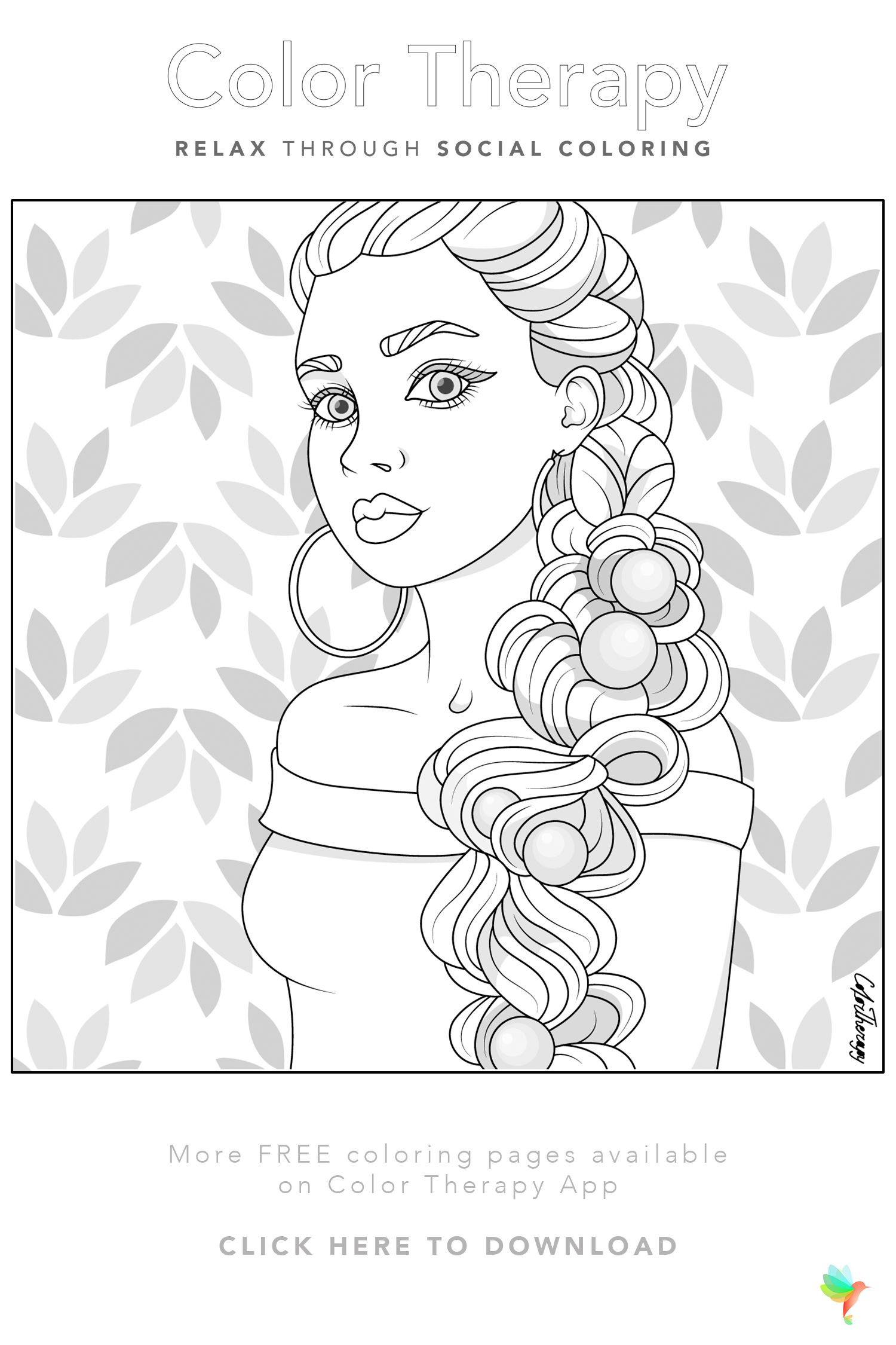 Color Therapy Gift Of The Day Free Coloring Template Coloring Pages For Girls Free Coloring Pages Coloring Book Art