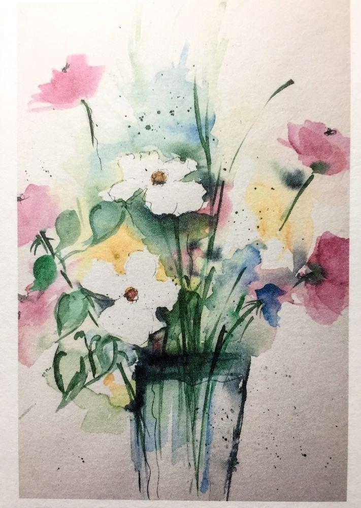 Aquarell Kunstdruck Blumen Blumenstrauß Malerei Kunstkarte Grußkarte ...