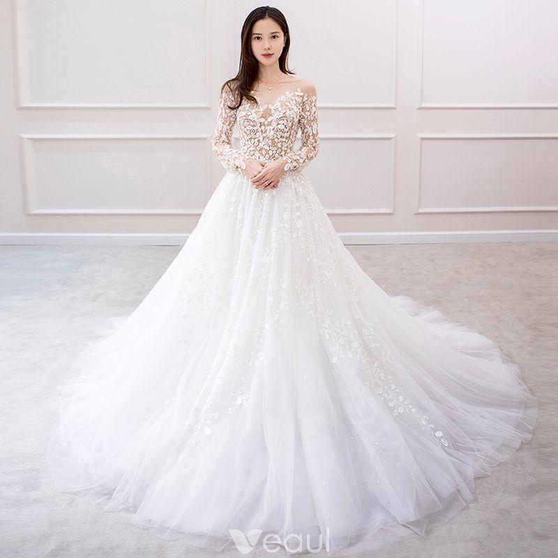 Charming ivory wedding dresses 2019 aline princess long