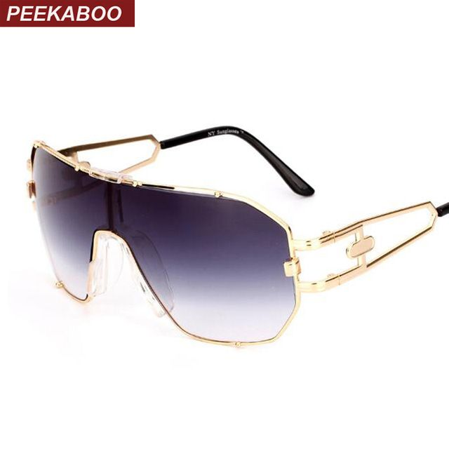 13bf8d7dc0f5 Peekaboo one lens sunglasses men big frame high quality ladies designer sun  glasses for women gold uv400 metal