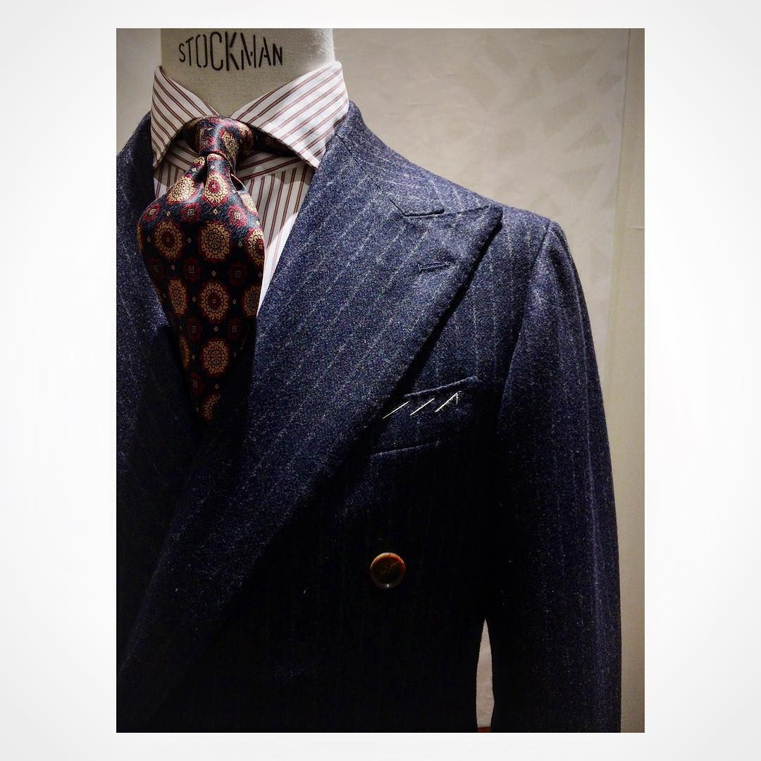 Flannel shirt with suit  Drakes London printed tie DBB Suit modelH ringjacket rjfw