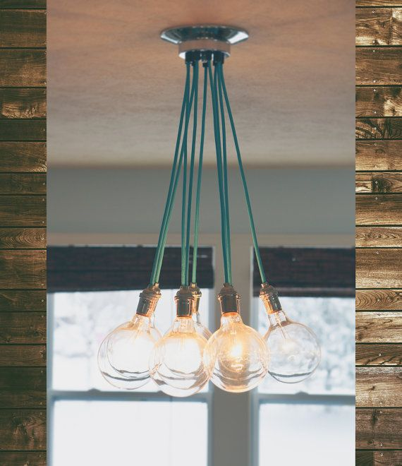 Cluster Pendant Light   9 Pendant Modern Ceiling Lamp With Colorful Cloth  Cord Antique Style LED