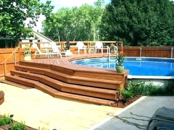 Full Size Of Small Backyard Above Ground Pool Decks Used For Sale Image Deck Kits Idea Backyard Pool Landscaping Above Ground Pool Landscaping Wooden Pool Deck