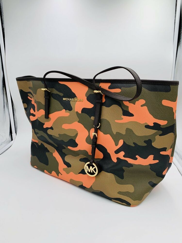 dba6b7171753 NEW MICHAEL KORS JET SET SMALL TRAVEL CAMO Tote Bag POPPY ORANGE ~RARE SZ!