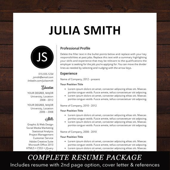 Resume  Cv Template Professional Resume Design For Word Mac Or
