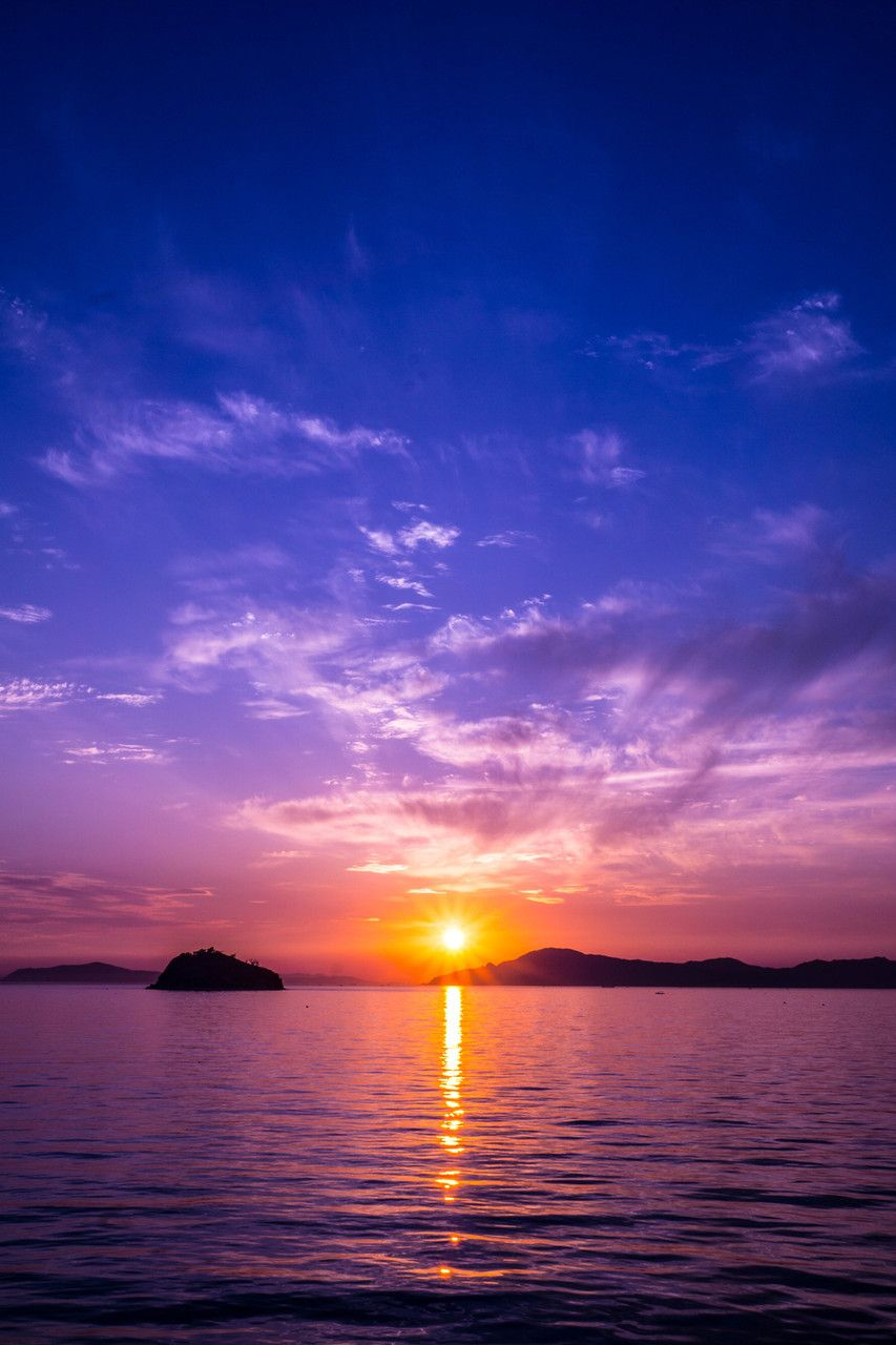 Acafe 沈み行く夕陽 瀬戸内海 Beautiful Sunset Scenery Nature Pictures