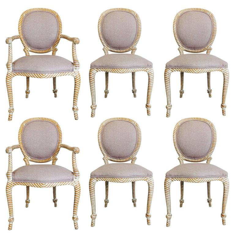 Set Of Six Carved Rope Dining Chairs With Whitewashed