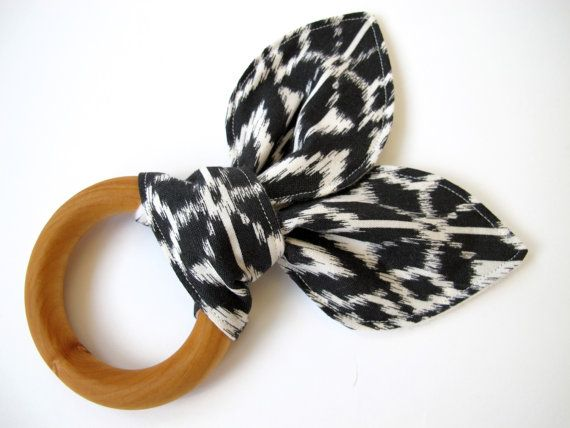 Natural Wooden Teething Ring With Fair Isle / by bunbunbabydesigns, $12.00