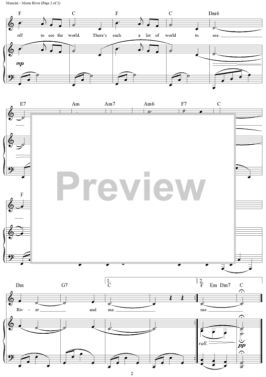 Moon River Sheet Music By Andy Williams Moon River Sheet Music