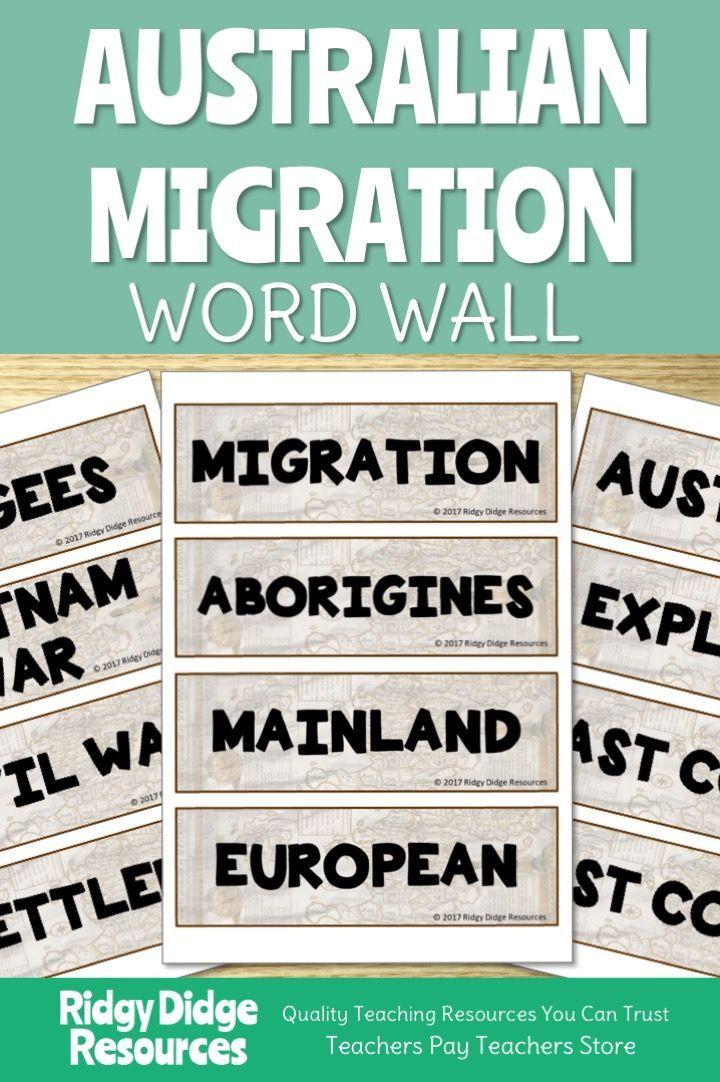 Australian Migration Word Wall Word wall, Words, History