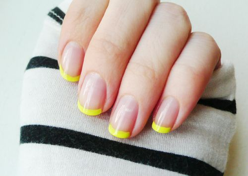 """Fuorescent + nude """"french"""" manicure. LOVE!"""