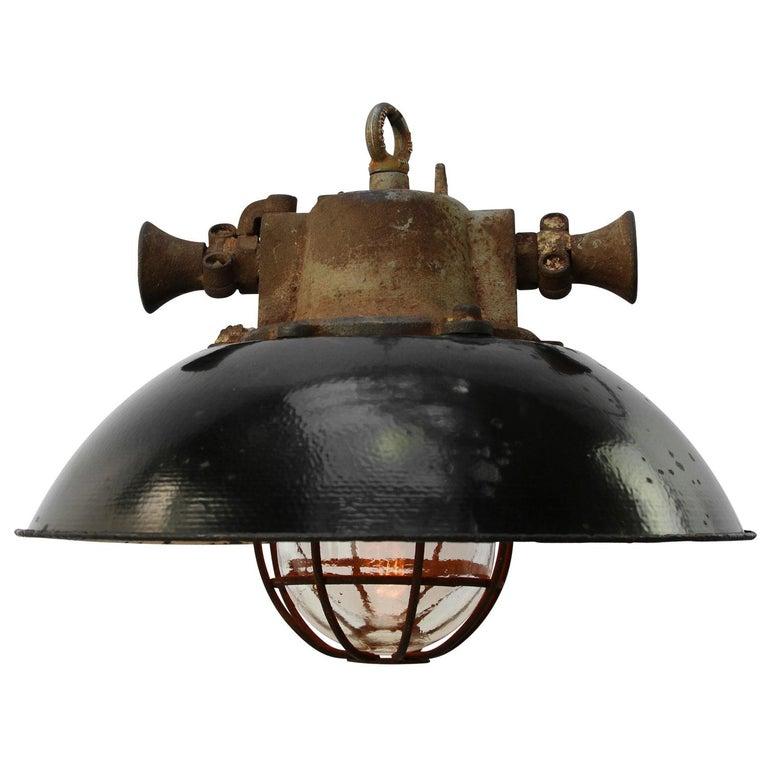 Black Enamel Cast Iron Vintage Industrial Cage Pendant Light In 2020 Industrial Cage Pendant Light Cage Pendant Light Industrial Cage Pendants