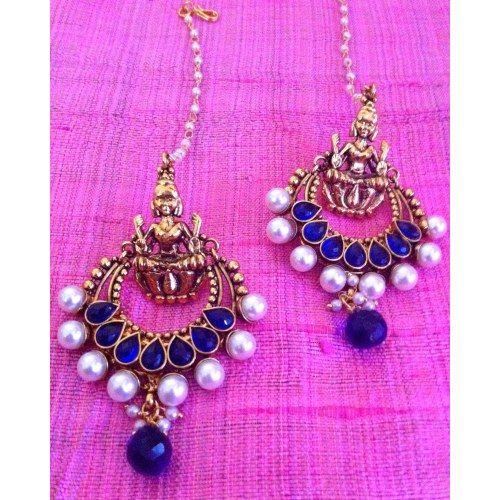 Traditional statement earrings blue , leela deepika ...