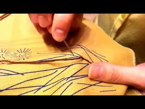Уроки по вышивке лентами - Стебельчатый шов - YouTube