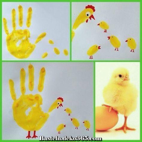 Handabdruck Huhn Und Kuken Basteln Ideen Ostern Osternest
