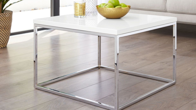 Acute White Gloss And Chrome Frame Square Coffee Table Coffee