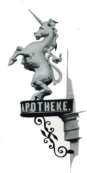 Apotheke sign showing unicorn in 1934 Germany