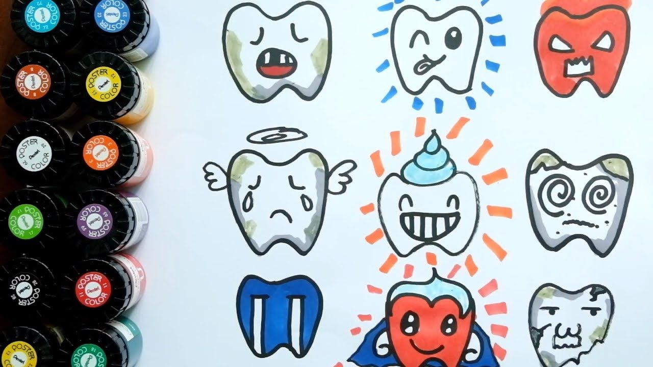 coloring for kids i how to draw teeth i coloring pages learning