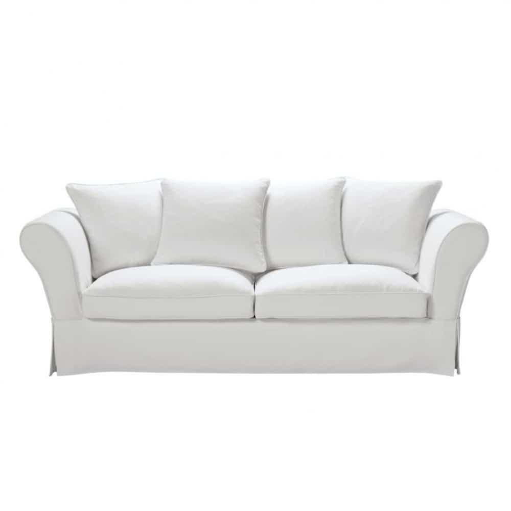 Canape 3 4 Places En Coton Ivoire Roma Sofa Linen Sofa Sofa Bed