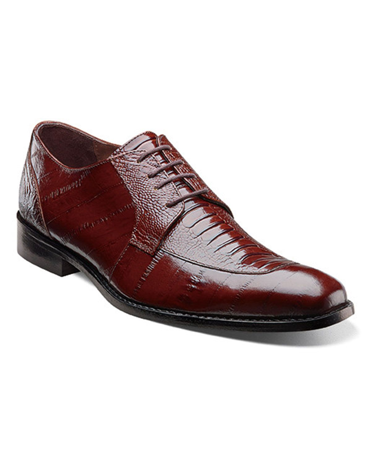 These Stacy Adams dress shoes sports ostrich leg and eel skin printed  leather. The combo