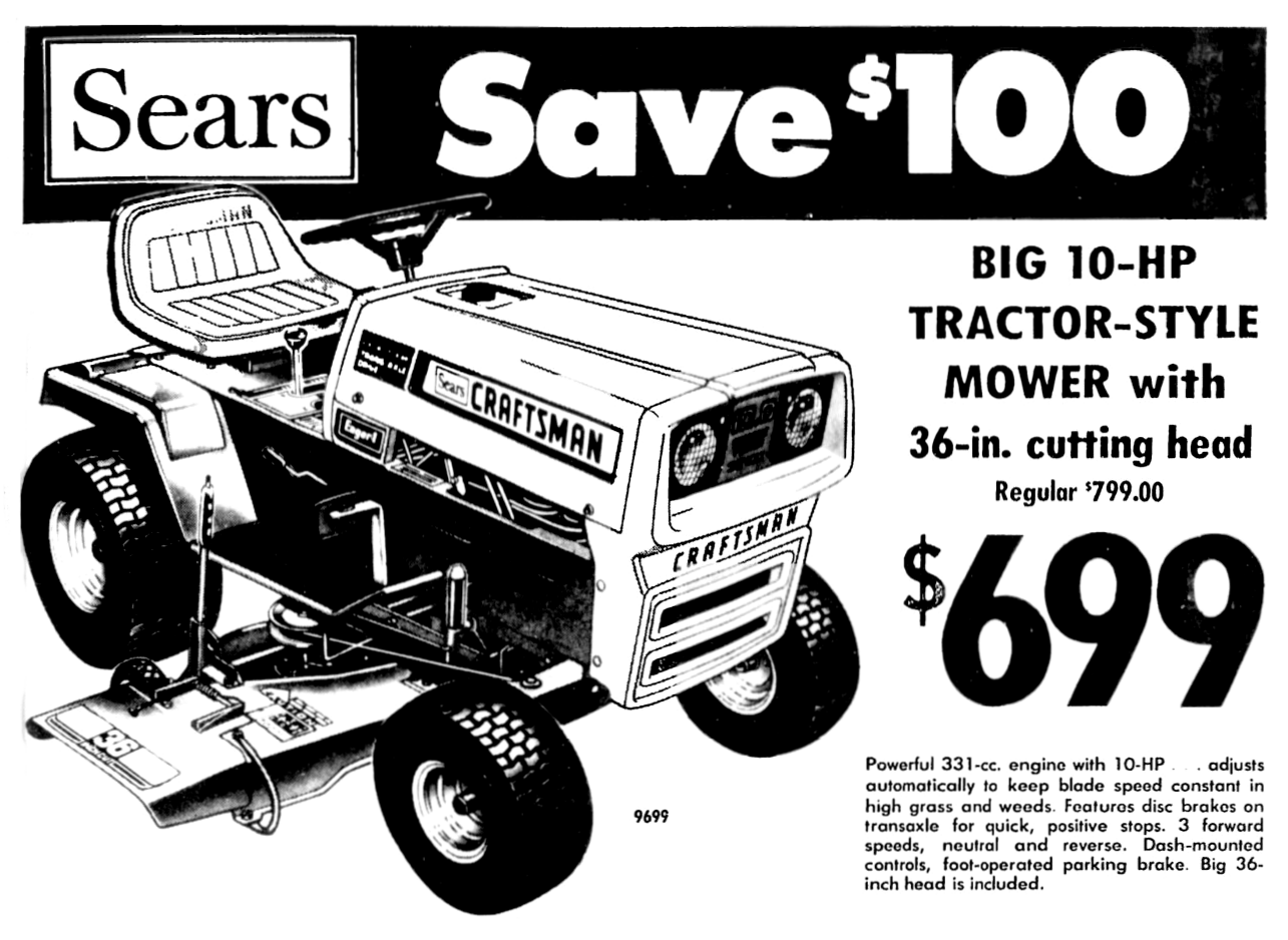 Sears Craftsman Lawn Tractor January 1976 Yard Tractors