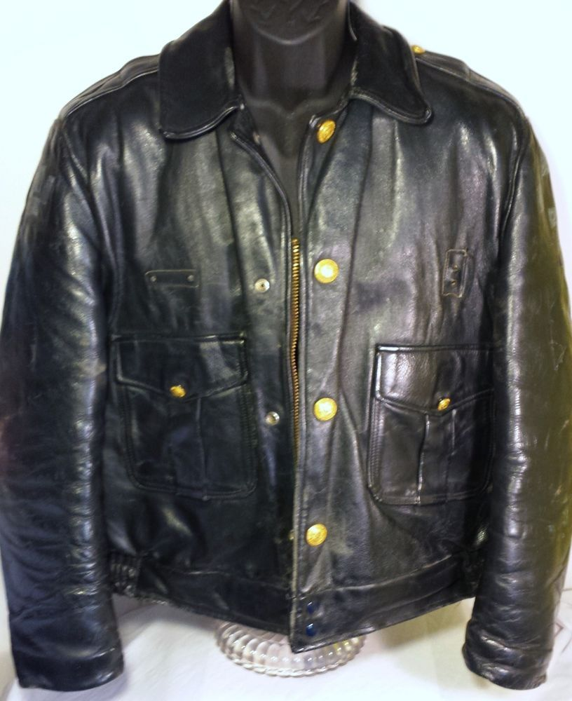 57bfbeb5e Chicago Police Department Mens Leather Duty Jacket   Red Five ...