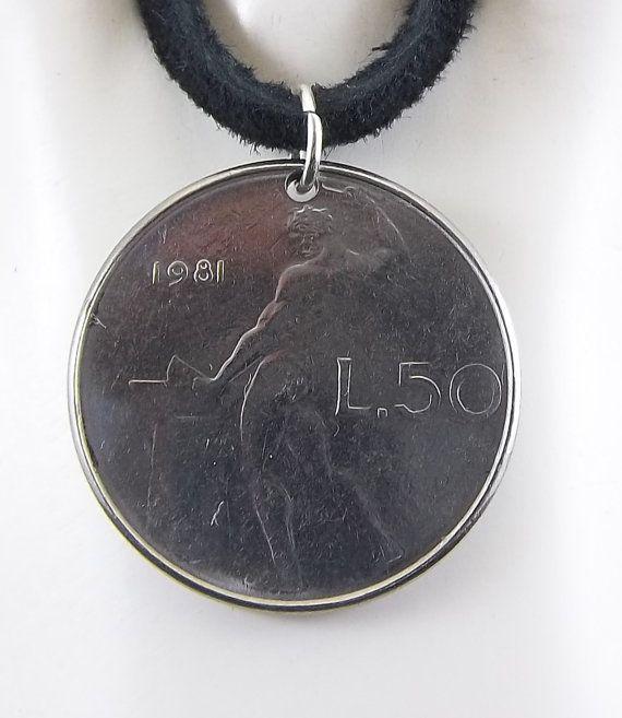 1981 Italian Coin Necklace 50 Lire Mens by AutumnWindsJewelry
