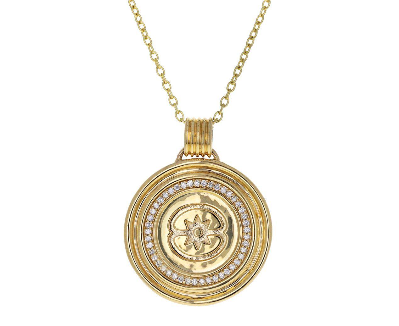 Diamond Stella Medallion Necklace Yellow Gold Chain Necklace Gold Medallion