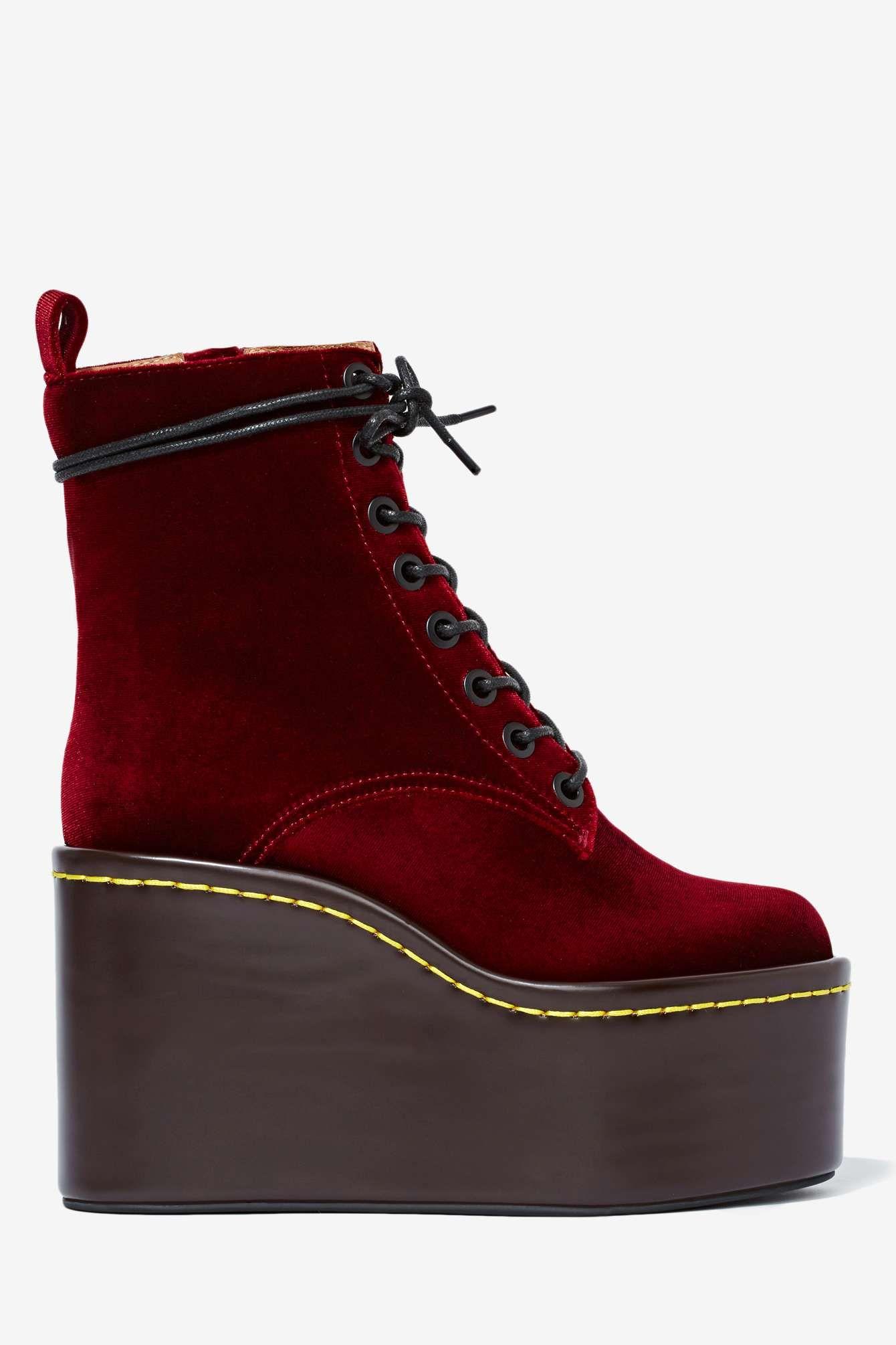 Jeffrey Campbell Commando Velvet Boot - Burgundy