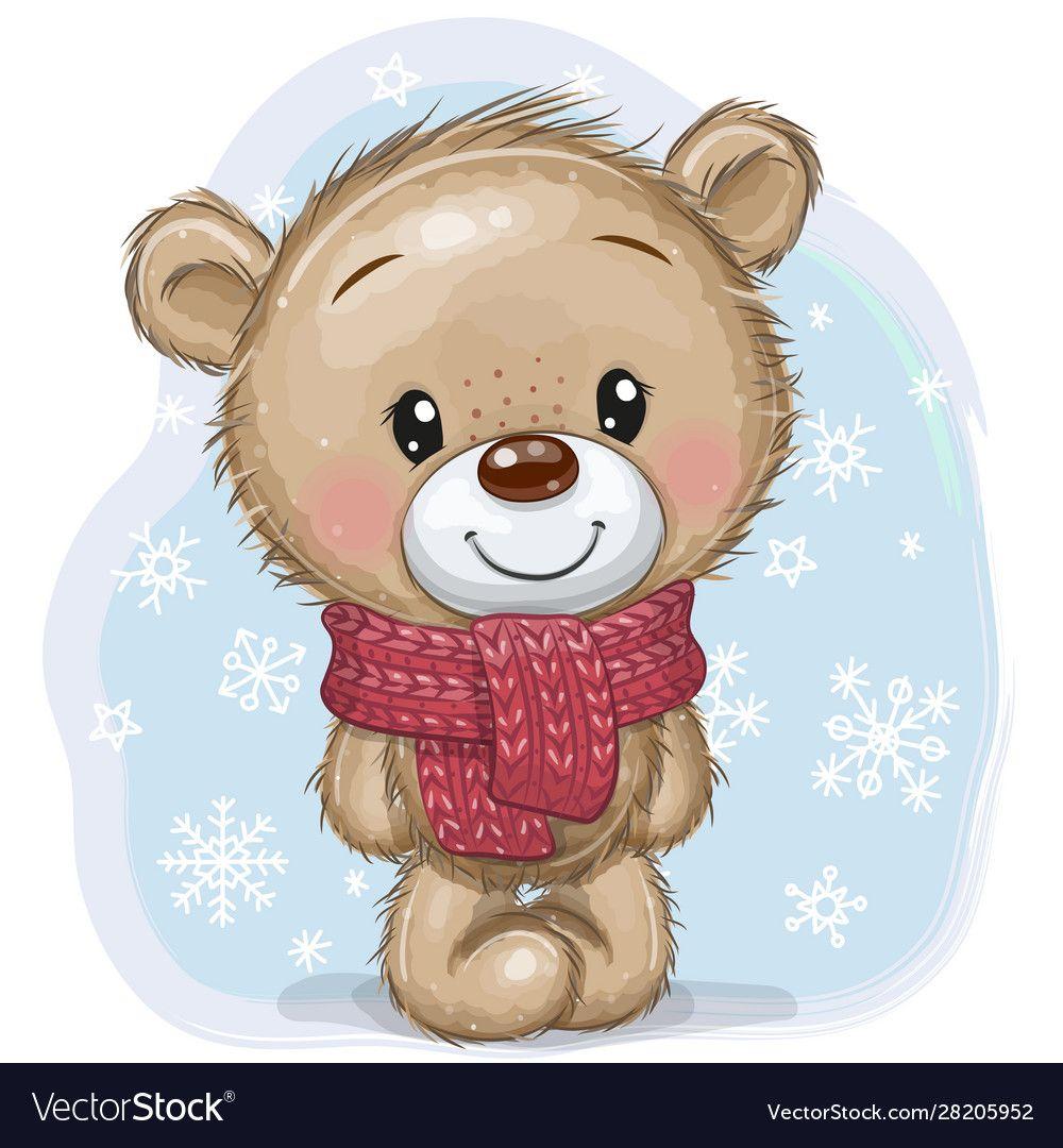 Cute Cartoon Teddy Bear In A Knitted Scarf On A Blue Background Download A Free Preview Or High Quality Adobe I Teddy Bear Cartoon Tatty Teddy Teddy Bear Girl