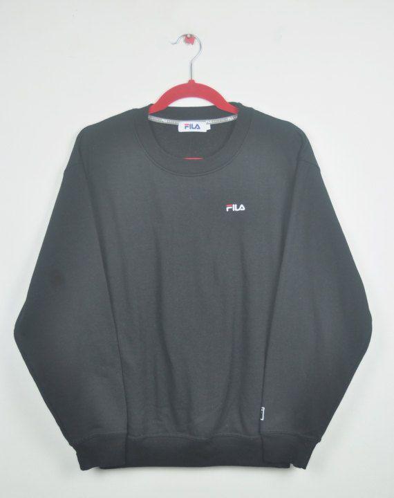 665e8fd01dc84 Vintage 90s Fila CrewNeck Sweatshirt Embroidered Fila Logo On Left Hand ||  Adult || L Size || Black