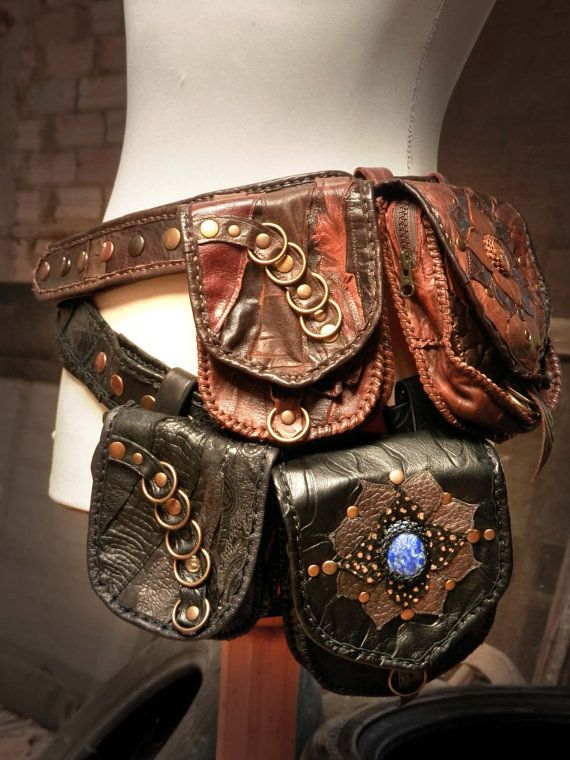 Handmade leather utility belt with 2 detachable pouches ...