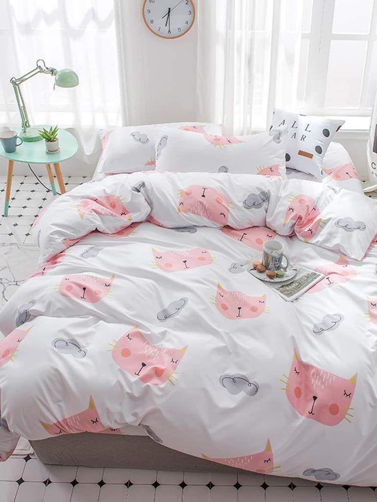 Meow Kitten  Reversible   Duvet Cover with Matching Pillow Case Bedding Set