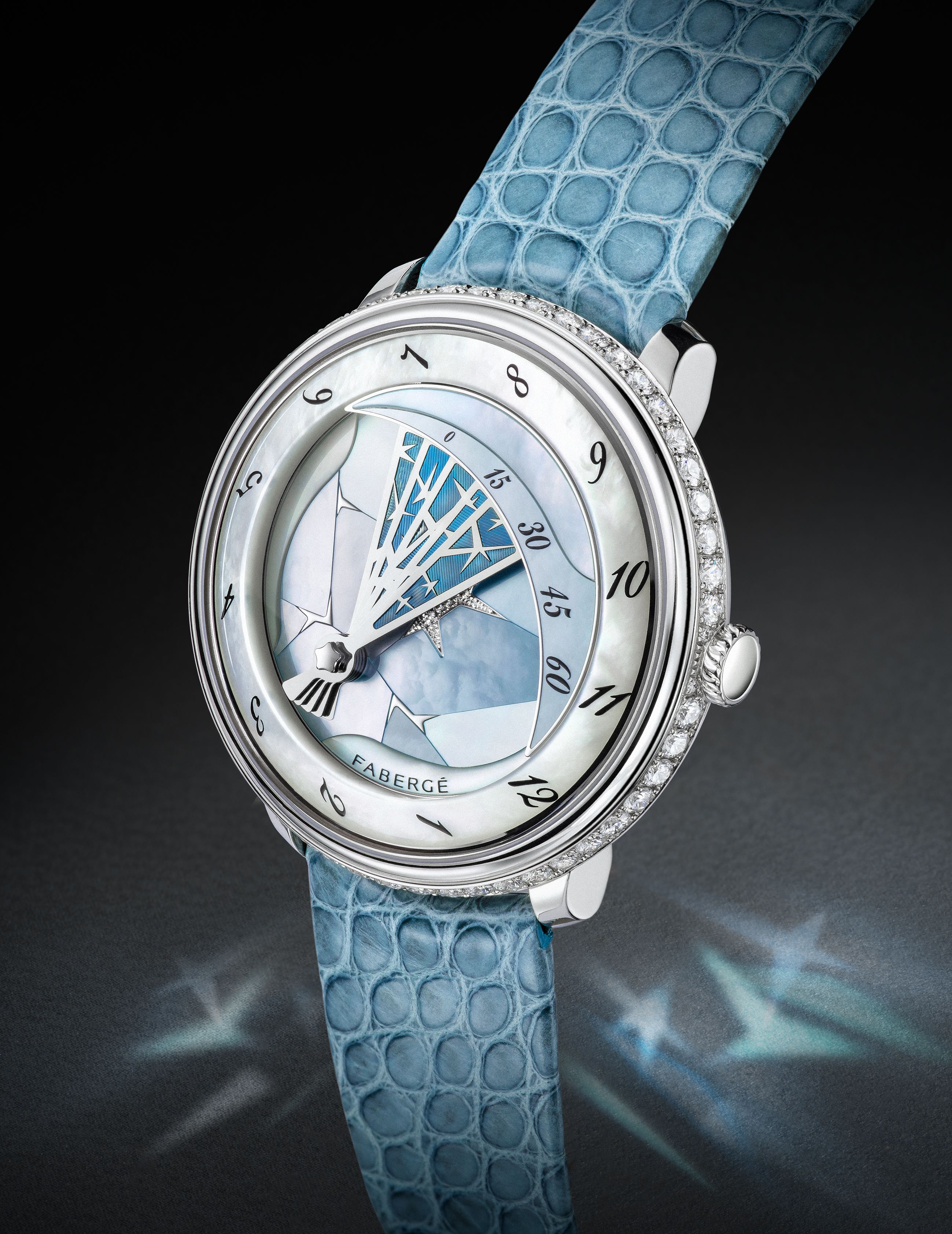 Blue strap with detailed casing and embedded with diamonds