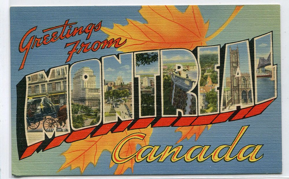 Greetings from montreal canada large letter linen postcard