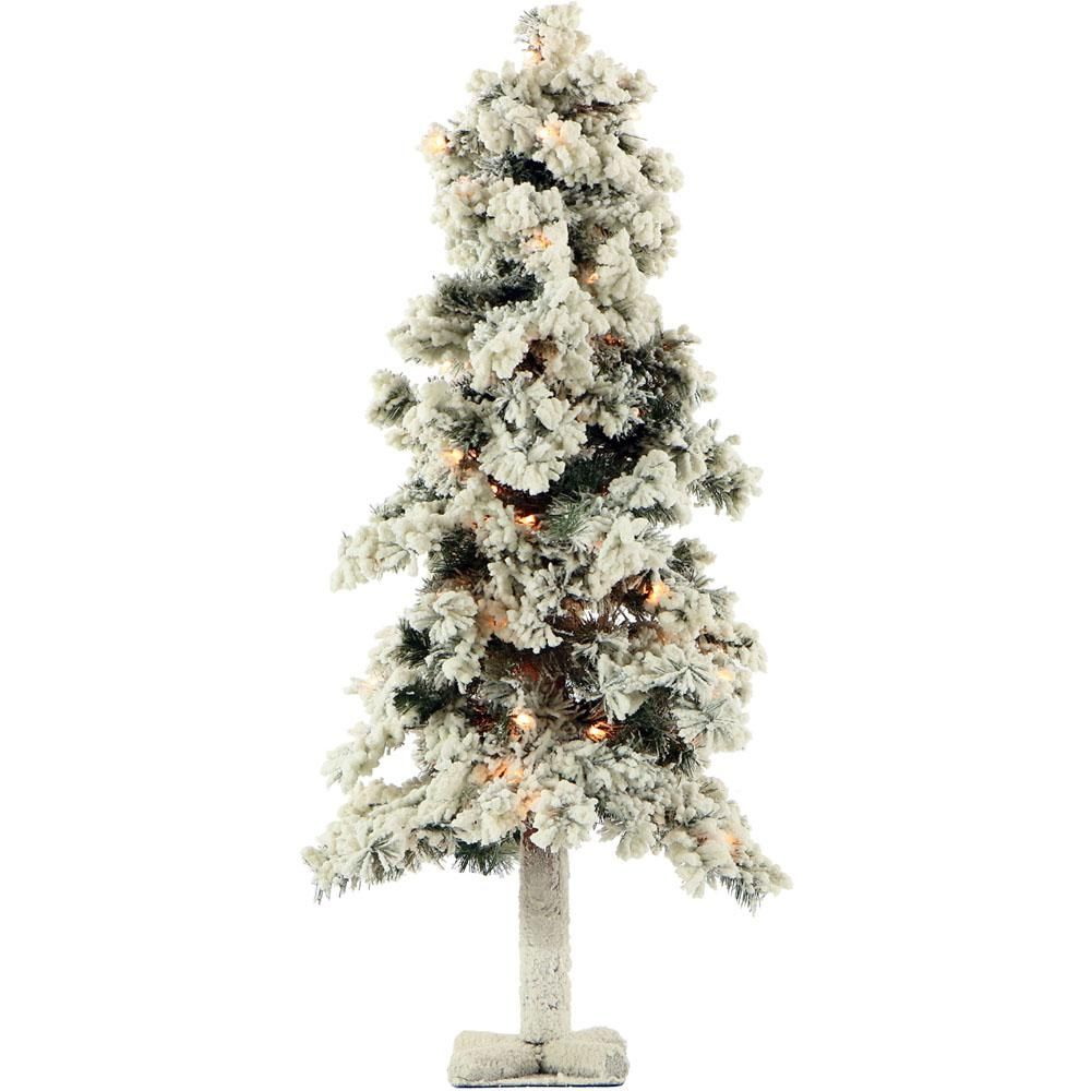 3 Ft Pre Lit Snowy Alpine Artificial Christmas Tree With 50 Clear Lights Whites Flocked Christmas Trees Artificial Christmas Tree Stand Alpine Tree