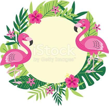 Tropical frame with flamingo vector illustration eps for Fenicottero arredamento