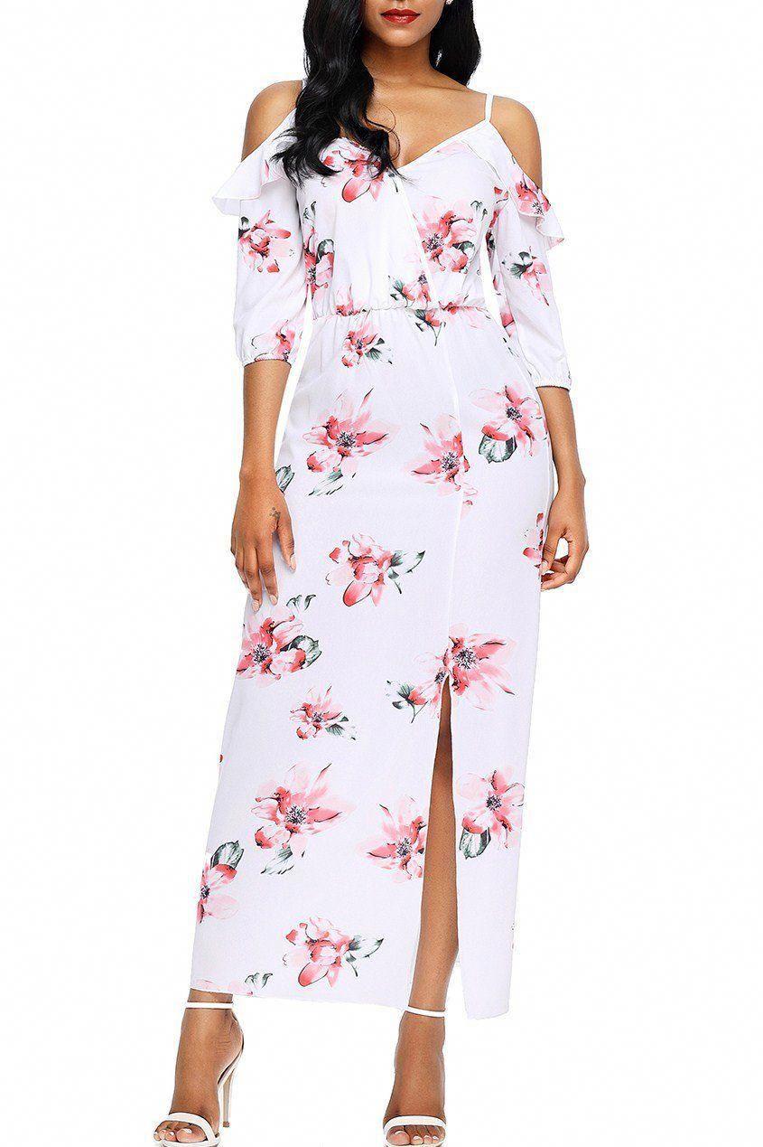 6653175705 Mode Cold Shoulder Side Slit White Floral Maxi Dress ChicLike.com  #1920SWomensFashion
