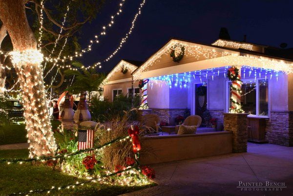 california bungalow with christmas lights near front patio - Patio Christmas Decorations