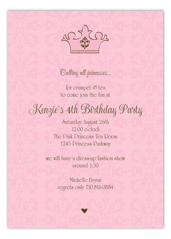 Pink Royal Invitation Girl birthday and Birthdays - best of invitation wording for gymnastics party