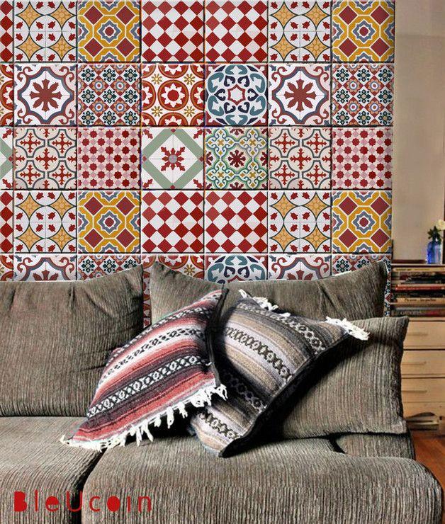 Bleucoin Tile Decal Backsplash: Tile/ Wall Decal Athangudi Vintage Style