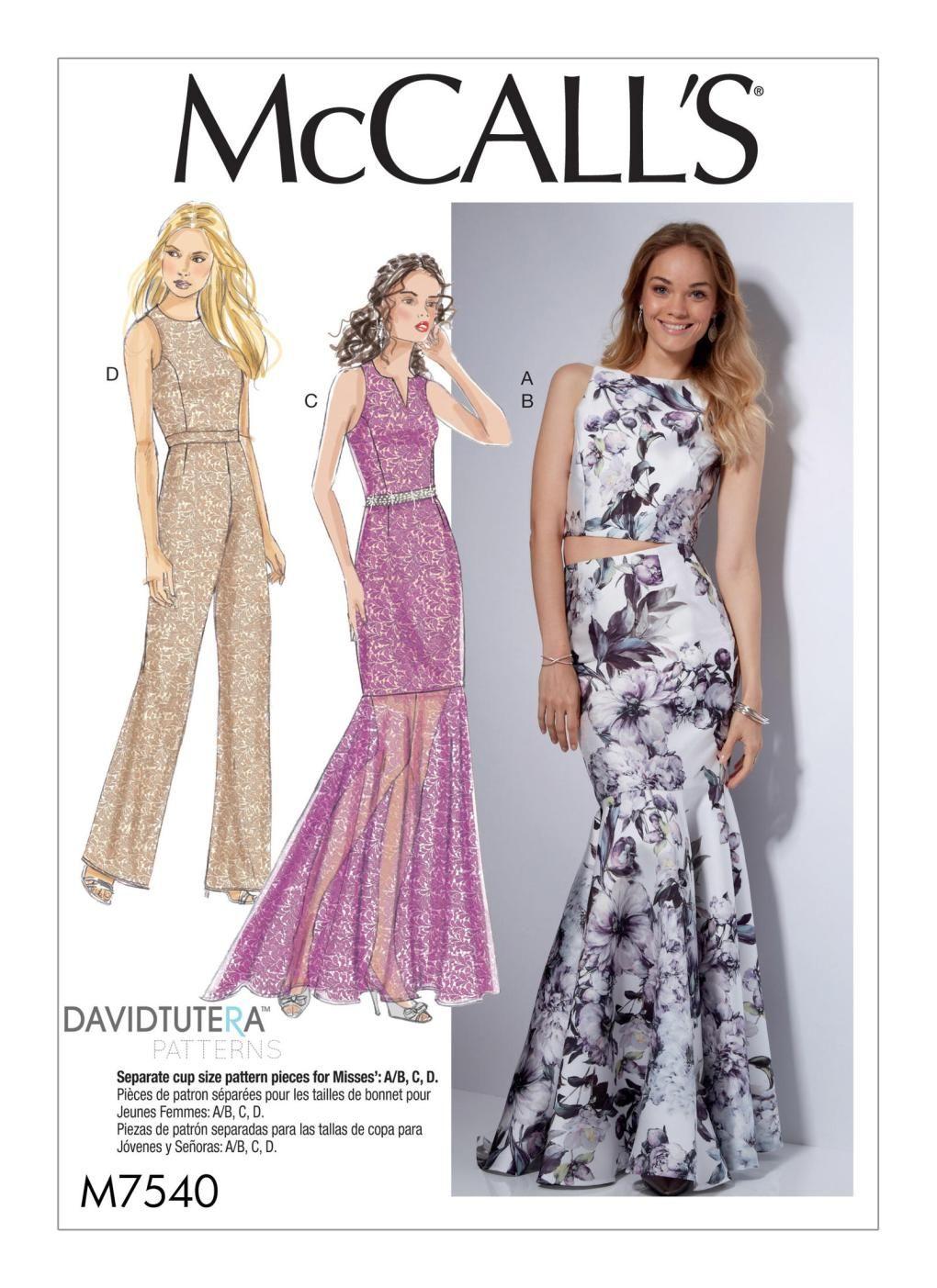 McCalls Ladies Sewing Pattern 7569 Column /& Mermaid Style Dresses McCall...