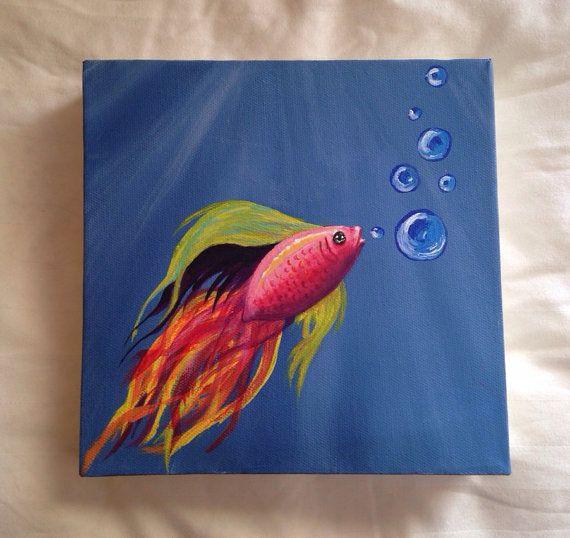 Underwater Box Canvas Acrylic Painting Mini Canvas Art Art Art Painting