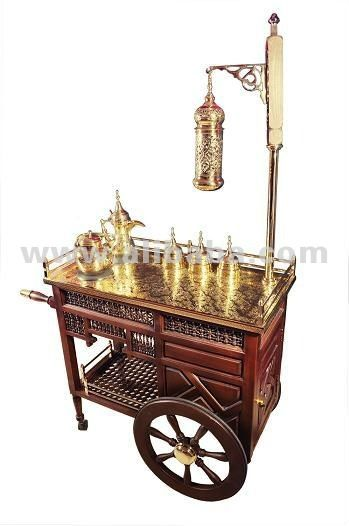 Brass tea and coffee trolley photo detailed about brass for Coffee carts for office