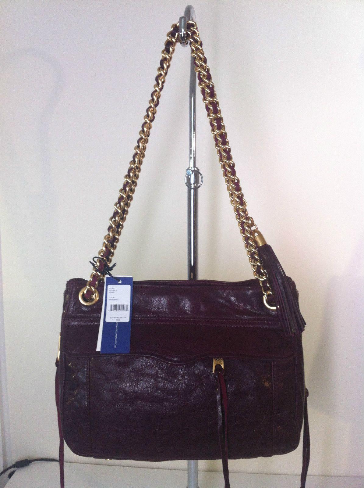 90f7d9afce84 NWT Rebecca Minkoff Swing Double Chain Strap Shoulder Bag Raspberry  324.99