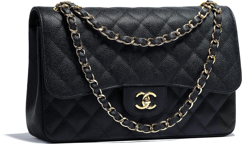 Grand sac classique, veau grainé   métal doré, noir - CHANEL   sac à ... 9365b81ee21