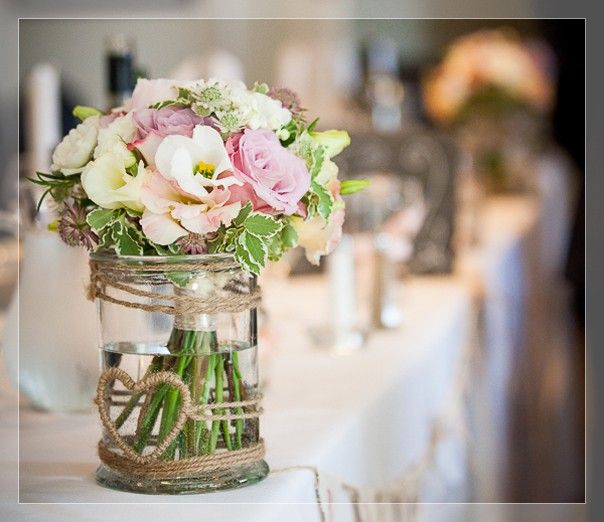 Flowers In Jars Wedding: Round Table Wedding Centrepieces Peonies Pink