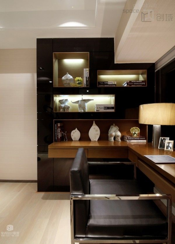 Modern Home Office Magnificent Wall design, lighting showcasing