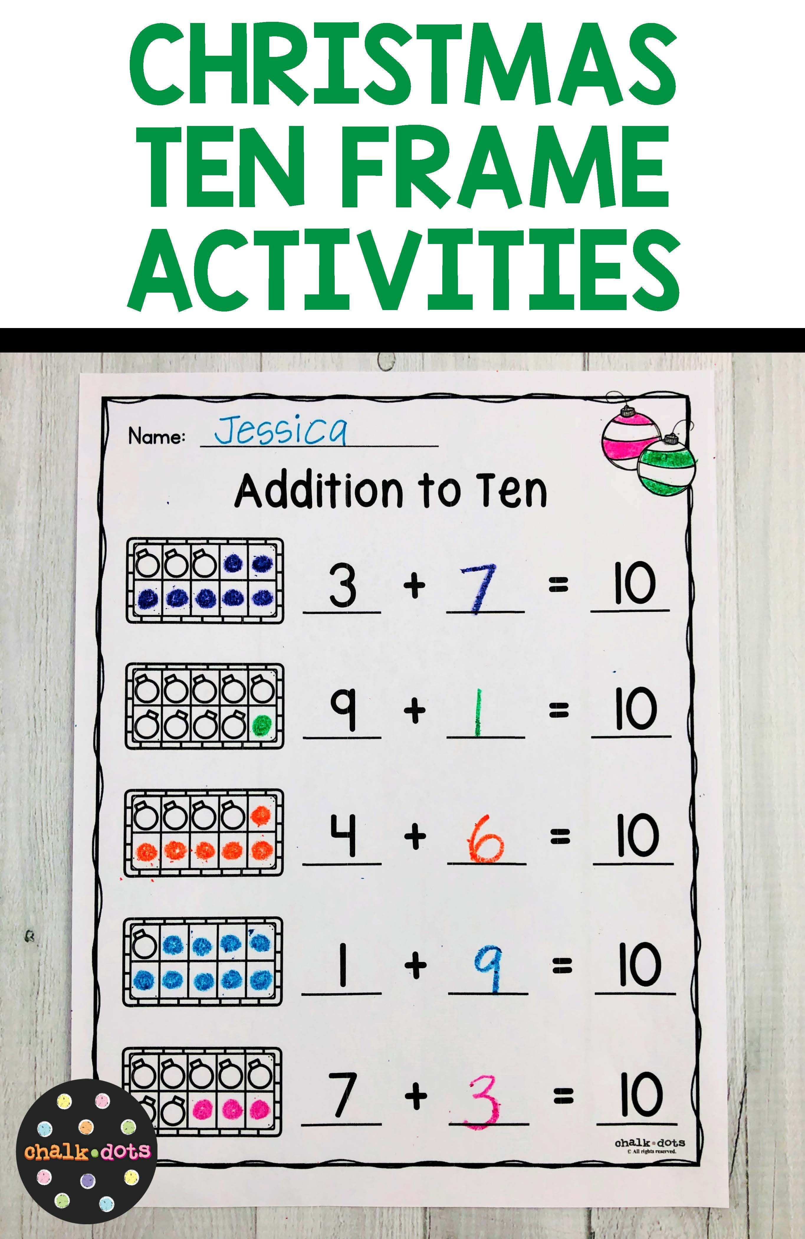 Christmas Ten Frame Activities 1 10