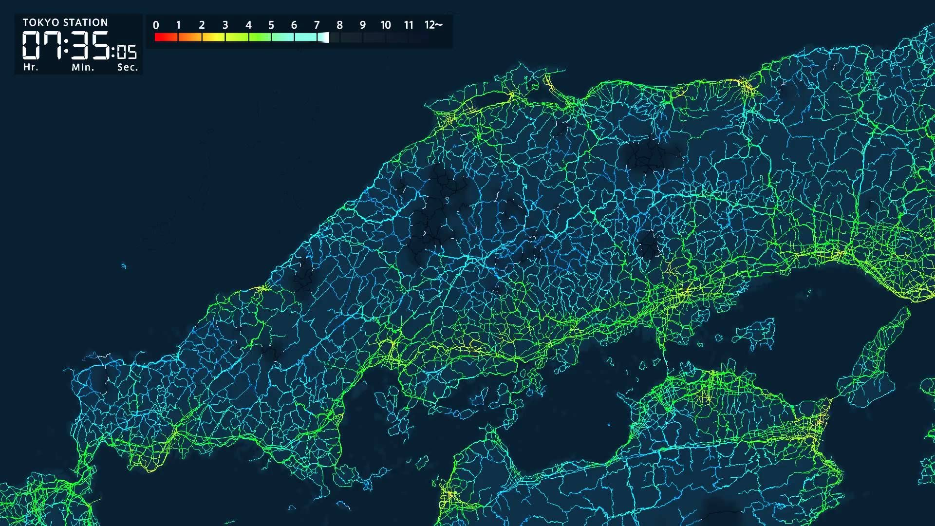 Visualization Of Travel Times From Tokyo Station To Other Parts Of - Japan map data